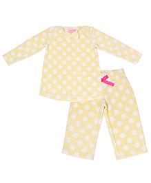 CrayonFlakes Polka Dots Polar Fleece Top & Pyjama Set - Yellow