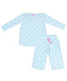 CrayonFlakes Stars Polar Fleece Top & Pyjama Set - Light Blue
