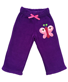 CrayonFlakes Butterfly Patch Rabbit Fur Pyjama - Purple
