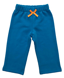 CrayonFlakes Smiling Teddy Patch On Back Fleece Pants - Turquoise