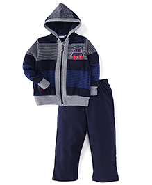 Valentine Full Sleeves Hooded T-Shirt And Pant Set Stripes Pattern - Navy And Grey