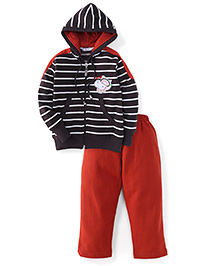 Valentine Full Sleeves Hooded T-Shirt And Pant Set Stripes Pattern - Brown And Red