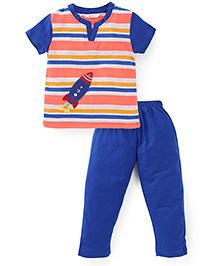 Valentine Half Sleeves T-Shirt And Pajama Rocket Patch - Orange Blue