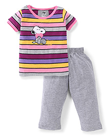 Valentine Half Sleeves Night Suit Snoopy Love Embroidery - Multicolor