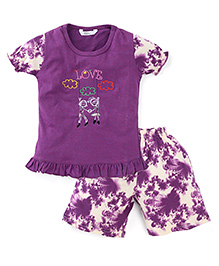 Valentine Half Sleeves Night Suit Embroidered Detail - Purple