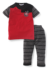 Valentine Half Sleeves Night Suit Anchor Embroidery - Red & Grey