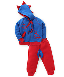 Valentine Full Sleeves Hooded Jacket And Legging Little Dino Embroidery - Red & Blue