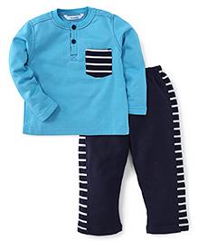 Valentine Full Sleeves T-Shirt And Pajama - Blue Navy