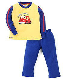 Valentine Full Sleeves T-Shirt And Legging Set Car Embroidery - Yellow & Blue