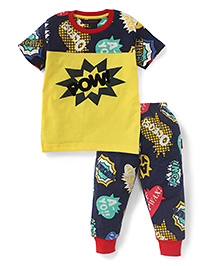 Valentine Half Sleeves T-Shirt And Bottoms Pow Print - Yellow