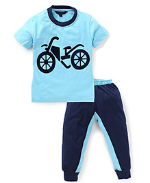 Valentine Half Sleeves Suit Set Bike Print - Blue