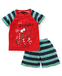 Valentine Half Sleeves T-Shirt And Stripe Shorts Dinosaur Print - Red Green