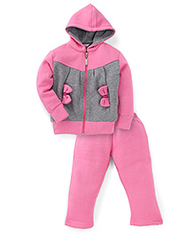 Valentine Full Sleeves Hooded Sweatjacket And Leggings Bow Applique - Pink Grey