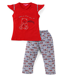 Valentine Cap Sleeves Top And Pajama Bear Embroidery - Red Grey
