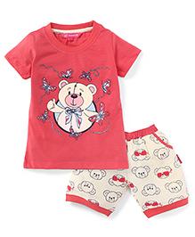Valentine Half Sleeves Top And Shorts Bear Print - Peach