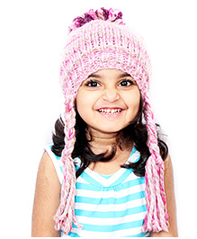 Magic Needles Handknitted Beanie With Pompom & Braids - Pink