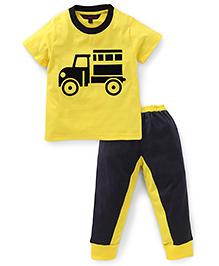 Valentine Half Sleeves T-Shirt And Pajama Vehicle Print - Yellow Black