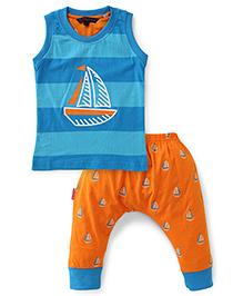 Valentine Sleeveless Stripe T-Shirt And Capri Ship Print - Blue Orange