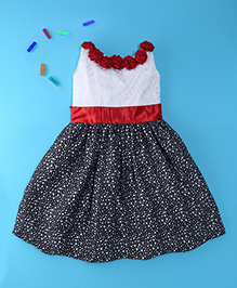 Winakki Kids Sleeveless Satin Party Dress - Black & Cream