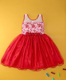 Winakki Kids Sleeveless Satin Party Dress - Baby Pink & Red