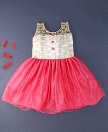 Winakki Kids Sleeveless Dress With Buttons - Peach