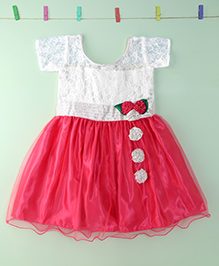 Winakki Kids Floral Applique Party Dress - White & Pink