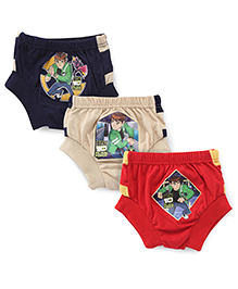 Ben 10 Briefs Navy Red And Cream - Pack Of 3