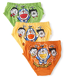 Doraemon Briefs Pack Of 3 - Rust Yellow Green