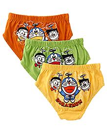 Doraemon Briefs Pack Of 3 - Orange Green Yellow