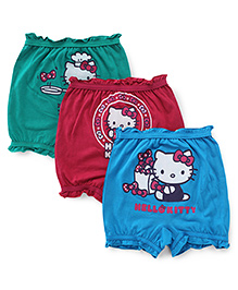 Hello Kitty Printed Bloomers Pack Of 3 - Green Blue Pink