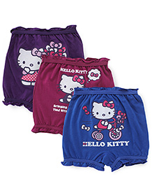 Hello Kitty Printed Bloomers Pack Of 3 - Maroon Purple Blue
