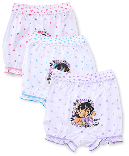 Dora Printed Bloomers Pack of 3 - White Turquoise Pink Purple