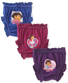 Dora Printed Bloomers Pack of 3 - Purple Maroon Royal Blue