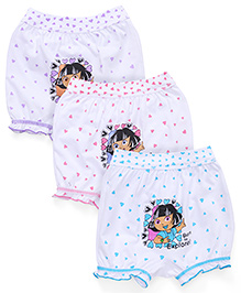 Dora Printed Bloomers Pack of 3 - White Blue Purple Pink