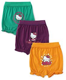 Hello Kitty Pack Of 3 Bloomers - Dark Purple Dark Yellow Green