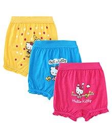 Hello Kitty Pack Of 3 Bloomers - Blue Yellow Fuschia