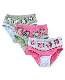 Hello Kitty Multi Kitty Print Panties Set of 3  - Pink Blue Green