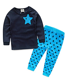 Mauve Collection Cute 2 Piece Star Print Set - Blue