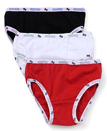 Hello Kitty Plain Panties Set Of 3 - Black White Red