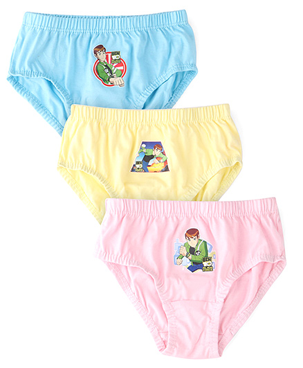 Ben 10 Printed Briefs Pack Of 3  - Blue Pink Yellow