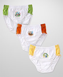 Doraemon Printed Briefs Pack Of 3 - White Yellow Green Red