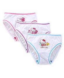 Hello Kitty Panties Set Of 3 - White Pink Blue Purple