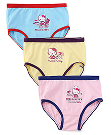 Hello Kitty Printed Panties Pack Of 3 - Blue Yellow Pink