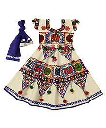 Little Pocket Store Girl's Lehenga Gujarat - Off White & Multicolour