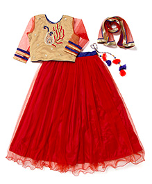 Little Pocket Store Angel's Lehenga Choli Set - Peach & Red