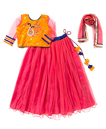 Little Pocket Store Angel's Lehenga Choli Set - Orange White & Pink