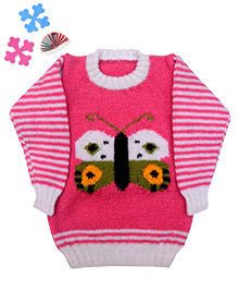 GoCuddle By Jasleen Butterfly Sweater For Girls - Pink & White