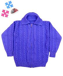 GoCuddle By Jasleen Zipper Sweater For Boys - Blue