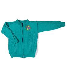 GoCuddle By Jasleen Zipper Sweater For Boys - Sea Green