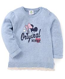 Fox Baby Full Sleeves Minnie Print - Sky Blue